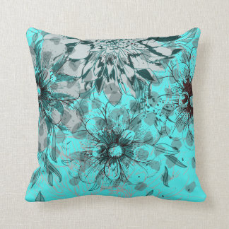Classic Blue Floral Pattern Throw Cushions