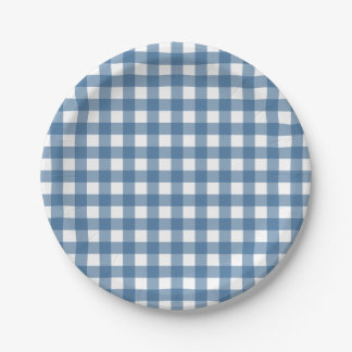Classic Blue Gingham Pattern 7 Inch Paper Plate
