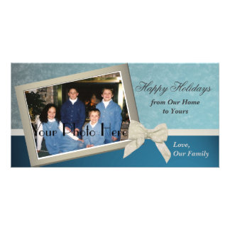 Classic Blue Holiday Greetings Picture Card