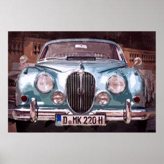 Classic Blue Jaguar Sedan Poster