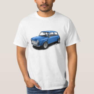 Classic Blue Mini Car on White T-Shirt