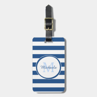 Classic Blue Monogram Dressy Name Chunky Stripes Luggage Tag