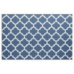 Classic Blue Moroccan Quatrefoil Trellis Fabric