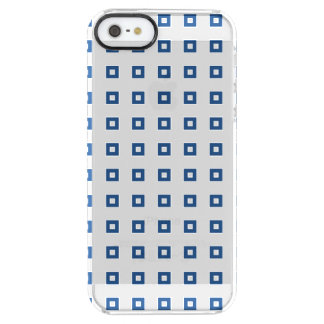 Classic Blue Square Pattern Clear iPhone SE/5/5s Case