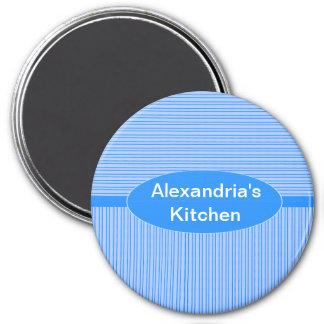 Classic Blue Striped Pattern 7.5 Cm Round Magnet