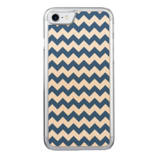 Classic Blue White Chevron Pattern Carved iPhone 8/7 Case