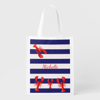 Classic blue white stripes with red lobsters name reusable grocery bag