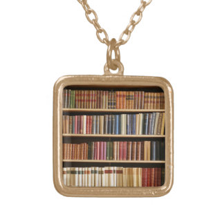 classic books shelf gold necklace