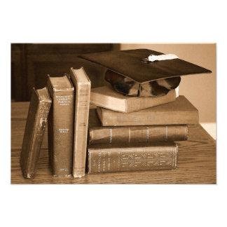 Classic Books with Mortar Board Photo