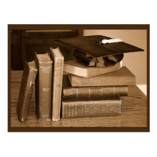 Classic Books with Mortar Board Postcard