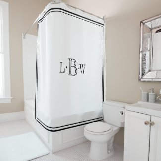 Classic Border Monogrammed Shower Curtain