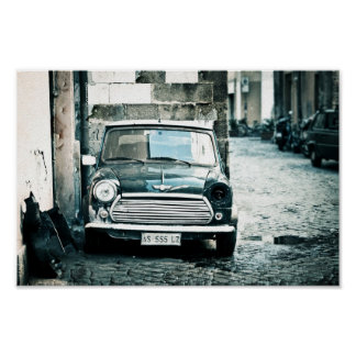 Classic British Mini in Rome Poster