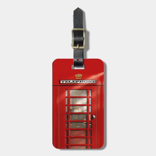 Classic British Red Telephone Box Personalised Luggage Tag