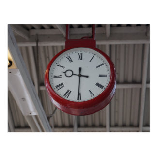 Classic British Train Station Clock Postcard
