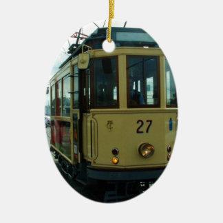 Classic British Tram. Ceramic Oval Decoration
