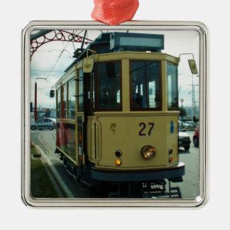 Classic British Tram. Silver-Colored Square Decoration