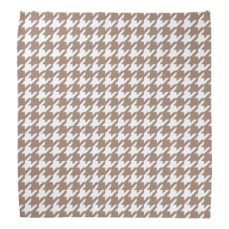 Classic Brown and White Houndstooth Pattern Bandana