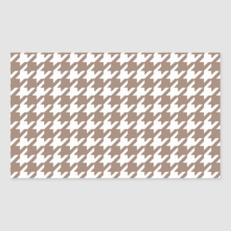 Classic Brown and White Houndstooth Pattern Rectangle Sticker