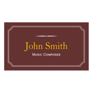 Classic Brown Music Composer Business Card