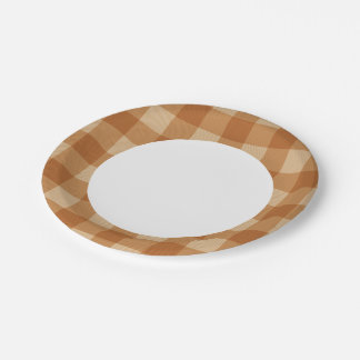Classic brown plaid checkered cloth 7 inch paper plate