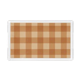 Classic brown plaid checkered cloth acrylic tray