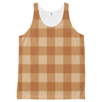 Classic brown plaid checkered cloth All-Over print tank top