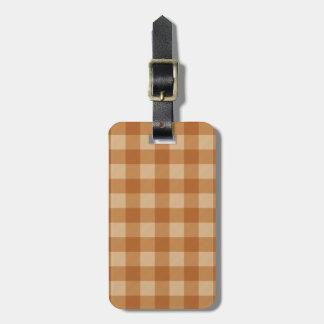 Classic brown plaid checkered cloth bag tag