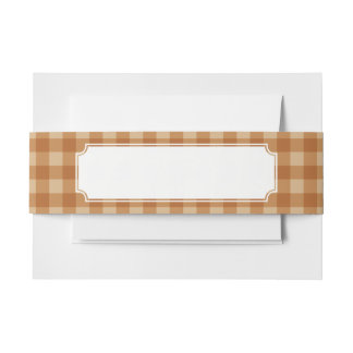 Classic brown plaid checkered cloth invitation belly band