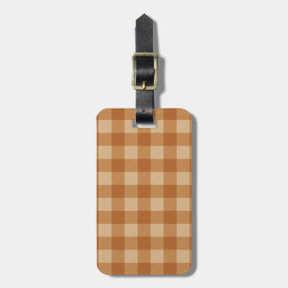 Classic brown plaid checkered cloth luggage tag