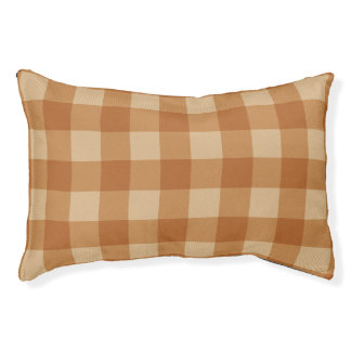 Classic brown plaid checkered cloth pet bed