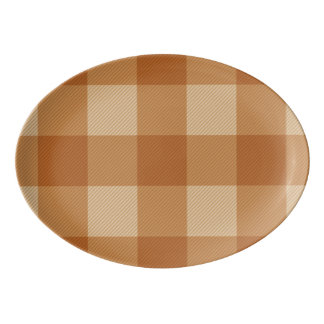 Classic brown plaid checkered cloth porcelain serving platter