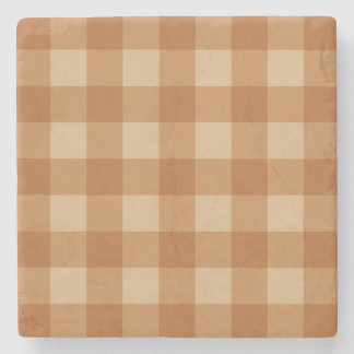 Classic brown plaid checkered cloth stone coaster