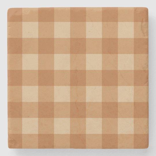 Classic brown plaid chequered cloth stone coaster