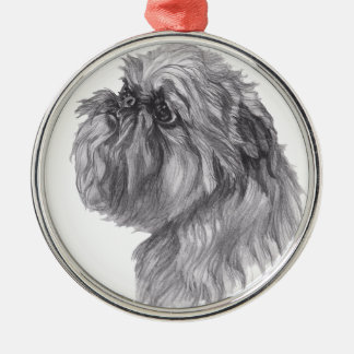 Classic Brussels Griffon  Dog profile Drawing Christmas Ornament