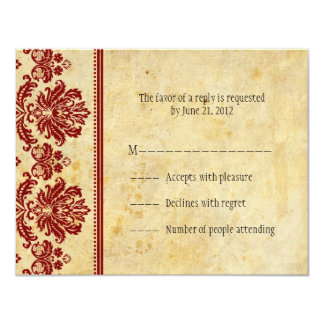 Classic Burgundy Lace RSVP Cards 11 Cm X 14 Cm Invitation Card