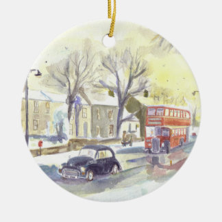 Classic Bus and Car ornament. Christmas Ornament