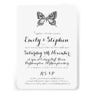 Classic Butterfly Personalised Wedding Invitation