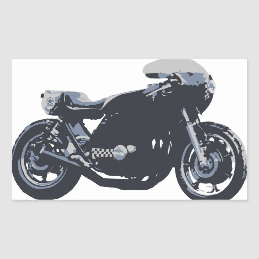 Classic Cafe Racer Motorcycle Rectangular Stickers