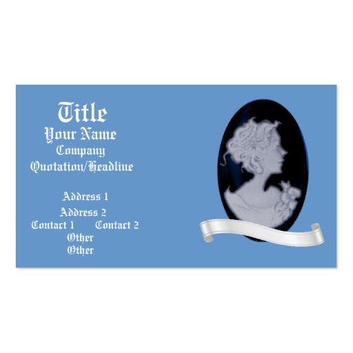 Classic Cameo (Blue) (Wedding) Business Card Template