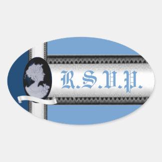 Classic Cameo (Blue) (Wedding) Oval Sticker