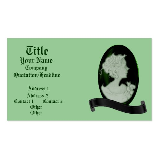 Classic Cameo (Jade/Green) Business Cards