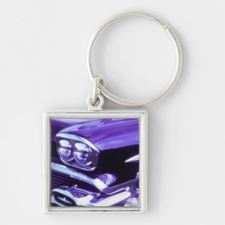 Classic car: 1958 Chevrolet Silver-Colored Square Key Ring