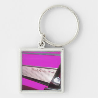 Classic car: Chevrolet Bel Air Silver-Colored Square Key Ring