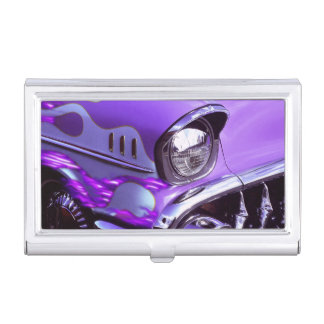 Classic car: Chevrolet with flaming hood Business Card Holder