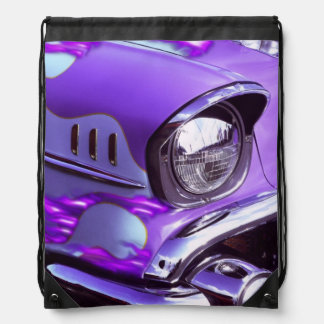 Classic car: Chevrolet with flaming hood Drawstring Bag