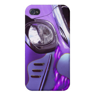 Classic car: Chevrolet with flaming hood iPhone 4/4S Covers