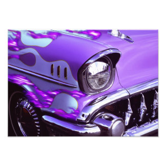Classic car: Chevrolet with flaming hood Photo Print