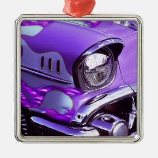 Classic car: Chevrolet with flaming hood Silver-Colored Square Decoration