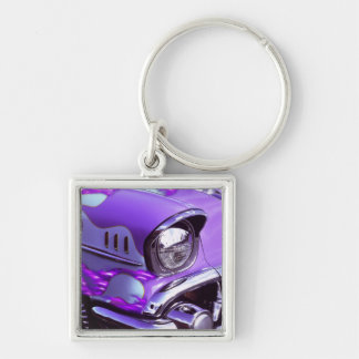 Classic car: Chevrolet with flaming hood Silver-Colored Square Key Ring