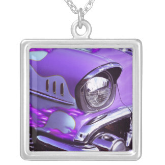 Classic car: Chevrolet with flaming hood Silver Plated Necklace